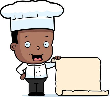 chef caricatura: Un chef de dibujos animados niño feliz con un gran menú.