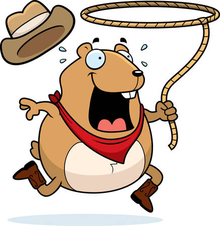 A happy cartoon rodeo hamster with a lasso.