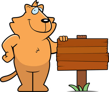 A happy cartoon cat standing next to a wood sign. Çizim