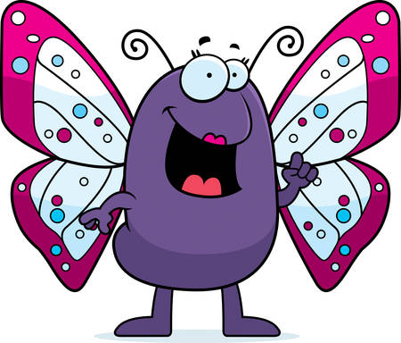 talking: A happy cartoon butterfly with an idea.