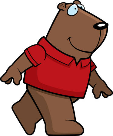 prairie dog: A happy cartoon groundhog walking and smiling.