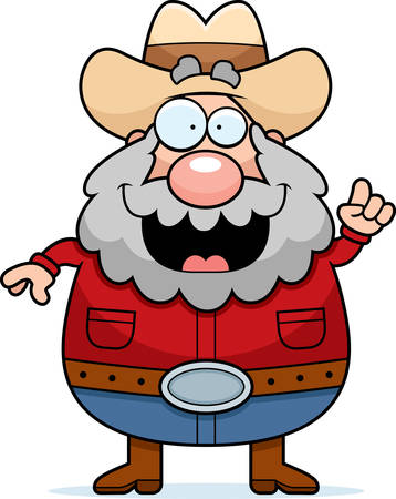 miner: A happy cartoon miner with an idea.