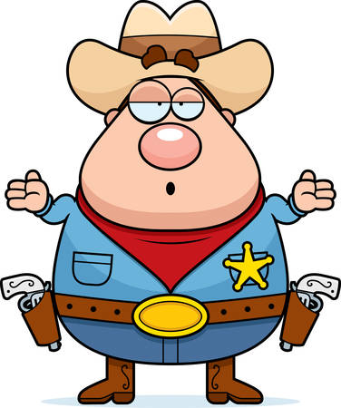 shrug: A cartoon sheriff looking confused and shrugging. Illustration
