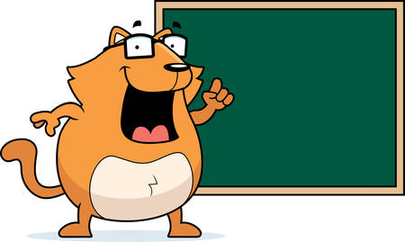 teacher in class: A happy cartoon cat at a chalkboard in school.