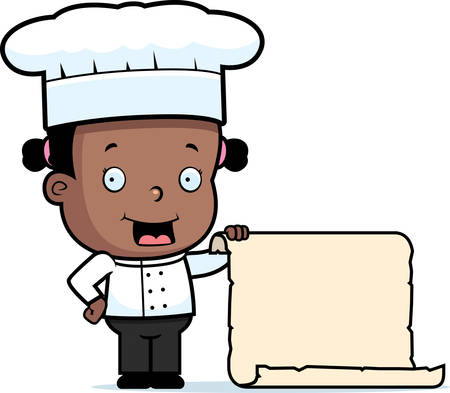 A happy cartoon child chef with a large menu.