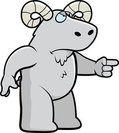 rams horns: A cartoon ram looking angry and pointing. Illustration