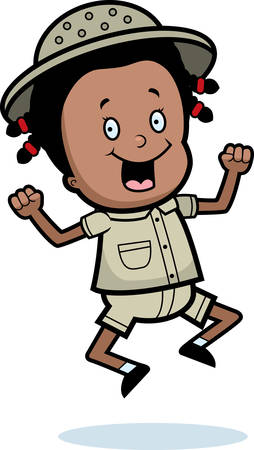 A happy cartoon child explorer jumping and smiling.