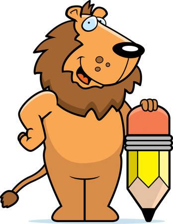 Un lion de bande dessinée heureuse avec un crayon. Banque d'images - 41888971
