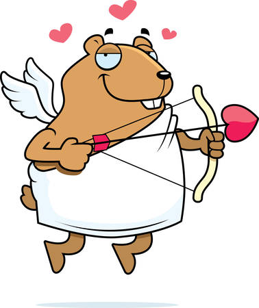 flying pig: A happy cartoon hamster cupid with a bow and arrow. Illustration