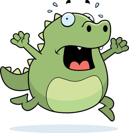 terrified: A cartoon lizard running in a panic.