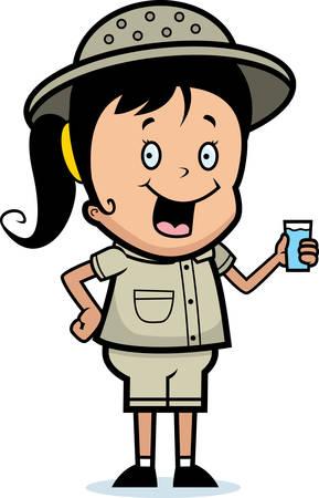 A happy cartoon child explorer with a drink of water. Ilustração