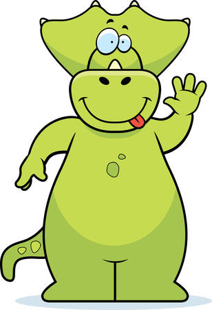 triceratops: A happy cartoon dinosaur waving and smiling.