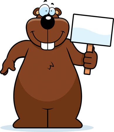 gopher: A happy cartoon gopher with a sign.