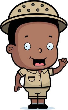 adventurer: A happy cartoon safari boy waving and smiling. Illustration