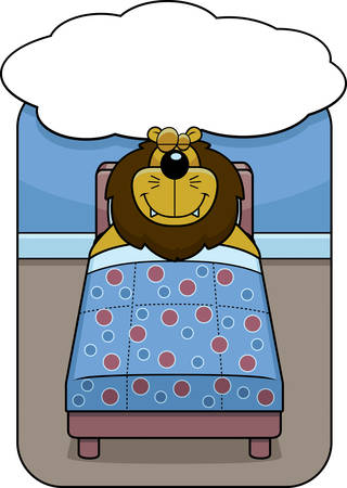 dreaming: A cartoon lion in bed dreaming and smiling.