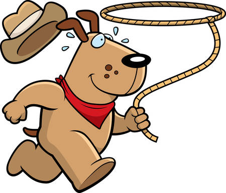 lasso: A happy cartoon rodeo dog running with a lasso.