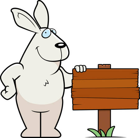 rabbit standing: A happy cartoon rabbit standing next to a wood sign.