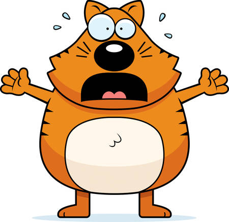 animal screaming: A cartoon cat with a scared expression.