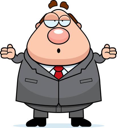 Een cartoon baas met een verwarde uitdrukking. Vector Illustratie