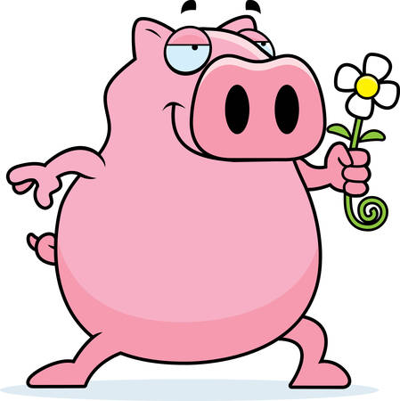 A happy cartoon pig with a flower.