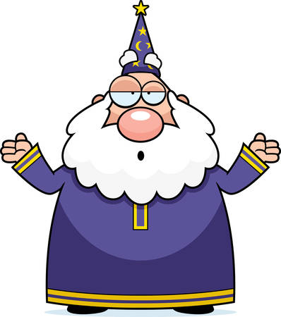A cartoon wizard with an confused expression.