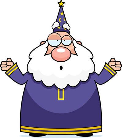 Een cartoon tovenaar met een verwarde uitdrukking. Stock Illustratie