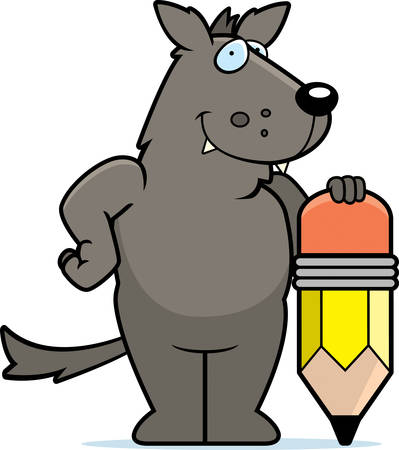 A happy cartoon wolf with a pencil.