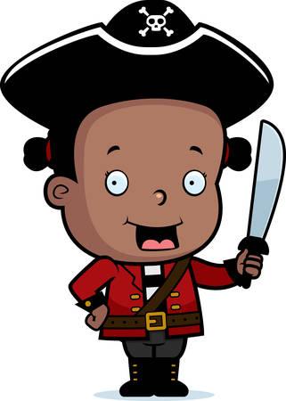 Een gelukkig cartoon kind piraat met een zwaard.