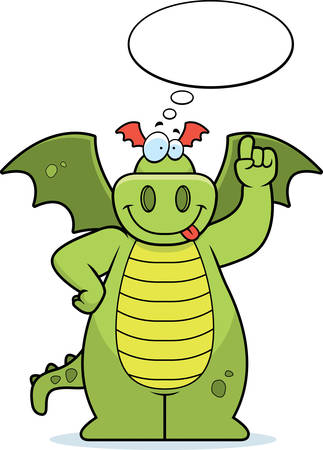 A happy cartoon dragon thinking and smiling.