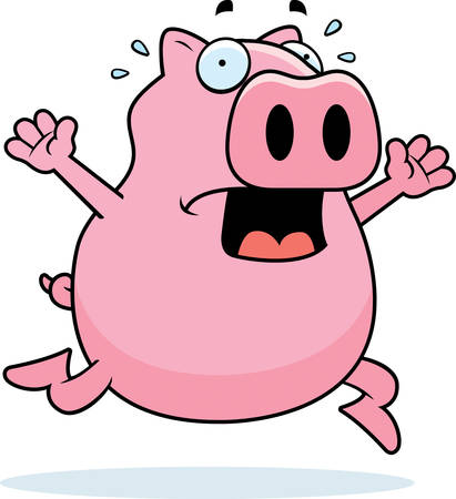 panic: A cartoon pig running in a panic. Illustration