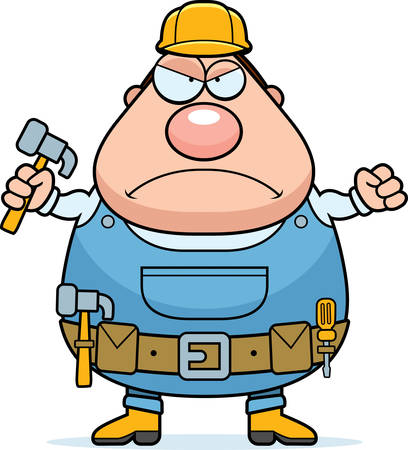 grouchy: An angry cartoon handyman frowning and looking upset. Illustration