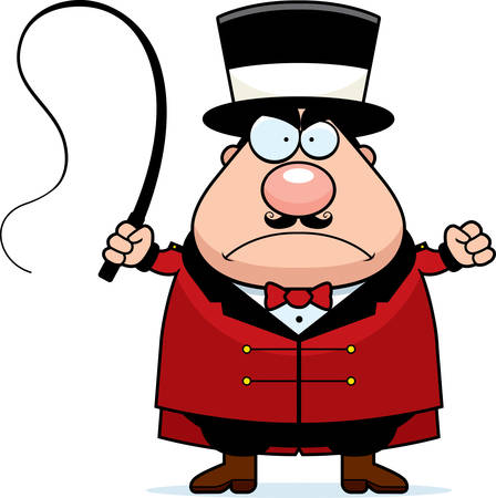 A cartoon ringmaster frowning and looking angry. Иллюстрация