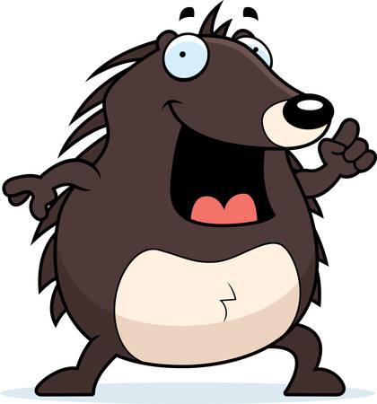 cartoon hedgehog: A happy cartoon hedgehog with an idea.