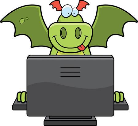 コンピューターを持つ幸せな漫画ドラゴン。 写真素材 - 41889642