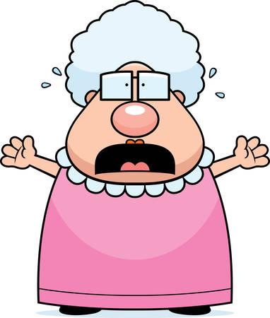 A cartoon grandma with a scared expression. Vettoriali