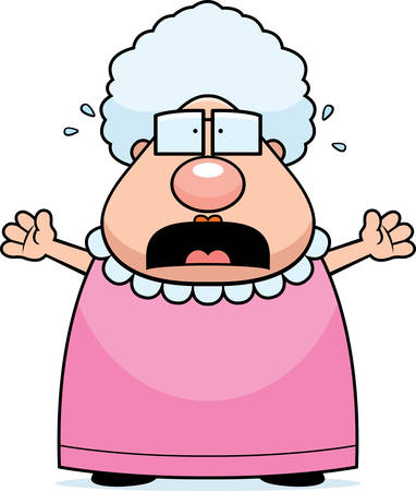 A cartoon grandma with a scared expression. Illustration