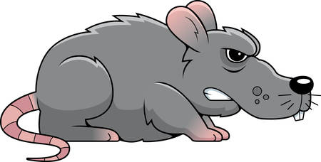 rata caricatura: Una rata gris de dibujos animados con una expresión enojada. Vectores