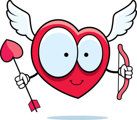 A happy cartoon heart cupid with bow and arrow.