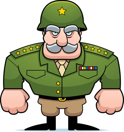 A cartoon military general with a helmet on. Illustration