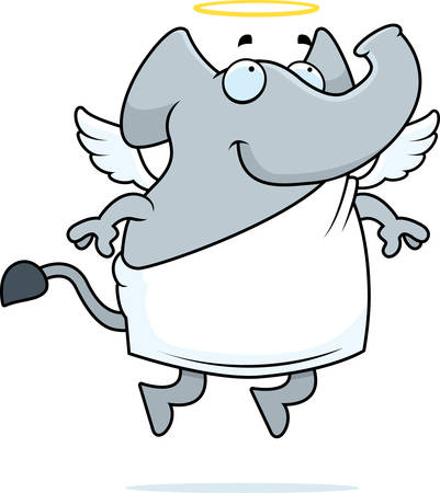 halo: A happy cartoon elephant with angel wings and halo.