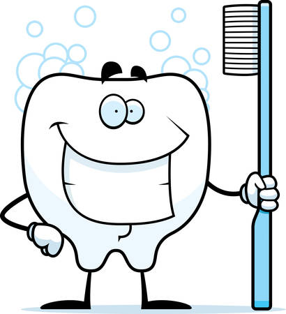 A cartoon clean tooth with a toothbrush.