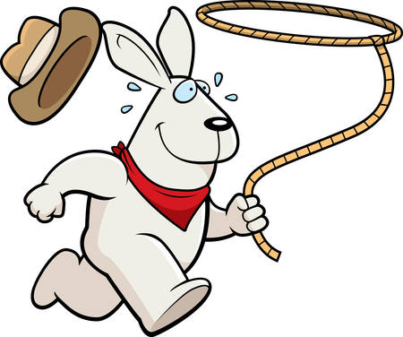 lasso: A happy cartoon rodeo rabbit running with a lasso.
