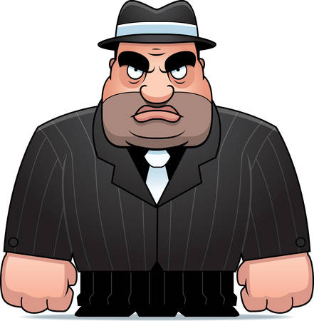 tough guy: A big cartoon mobster in a suit. Illustration