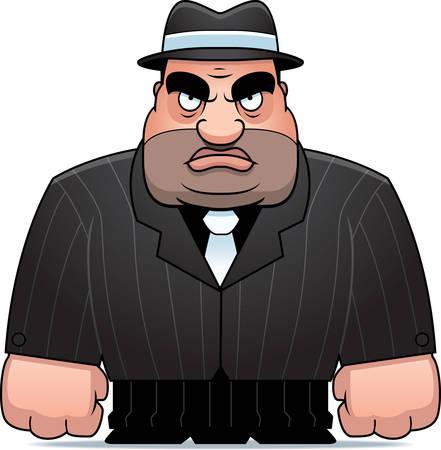 Een grote cartoon gangster in een pak. Stock Illustratie