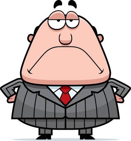 A cartoon boss with a grumpy expression.
