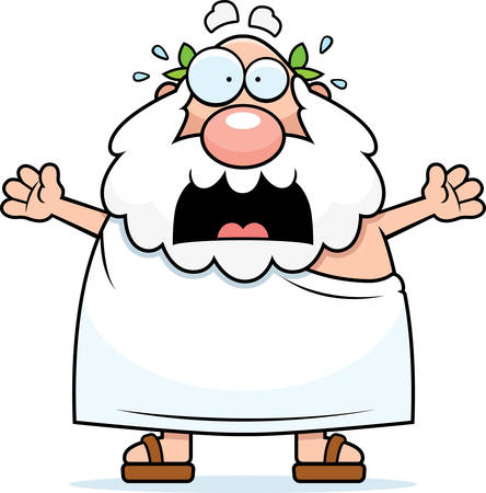 toga: A cartoon Greek philosopher with a scared expression.