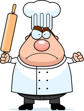 frowning: A cartoon chef frowning and looking angry. Illustration