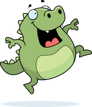 A happy cartoon lizard jumping and smiling.