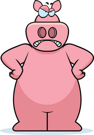 frowning: An angry cartoon pig frowning and looking upset. Illustration