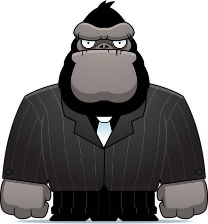 A cartoon gorilla dressed in a suit and tie. Çizim